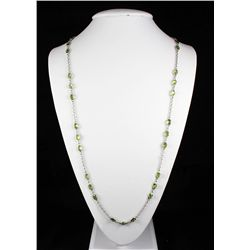 Natural Peridot 45.90CT SilverOvalLinkChainNecklace 11.