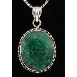 EMERALD BERYL 54.67CTW STERLING SILVER PENDANT