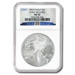 2010 1 oz Silver American Eagle MS-70 NGC 25th Annivers