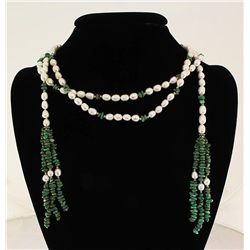371.43CTW 55in. FASHION SCARF PEARL & TURQUOISE NECKLAC