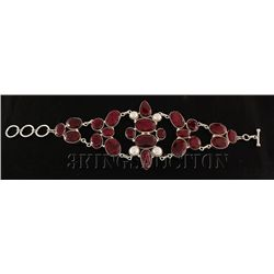 RUBY CORRUNDUM 74.40GRAMS FASHION SILVER BRACELET