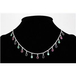 Multi-color 8.60ctw Bezel Dangles Silver Necklace 7.73g