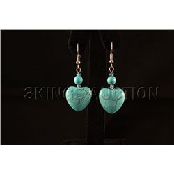 32.37ctw Ladies Heart Turquoise Silver Earring