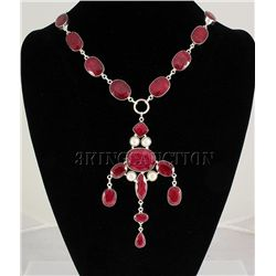 RUBY CORRUNDUM 84.70GRAMS SILVER STATEMENT NECKLACE