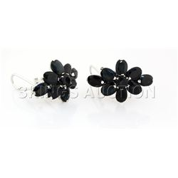 Natural Sapphire 40.44CTW Silver Flower Earring
