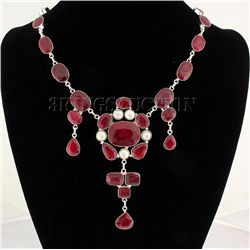 RUBY CORRUNDUM 83.40GRAMS SILVER STATEMENT NECKLACE