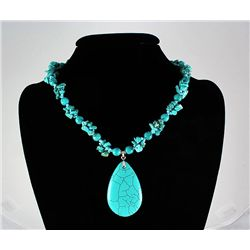 340.00CTW 18in. BLUE TURQUOISE STERLING SILVER NECKLACE