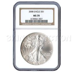 Certified Uncirculated Silver Eagle 2008 MS70