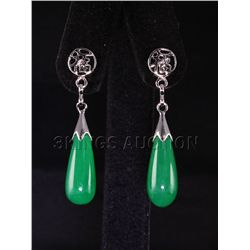Natural 24.68ctw Green Jade Dangling Earring