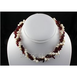 "317.89CTW 16"" RED-WHITE FRESHWATER PEARL AND CHIPPED ST"