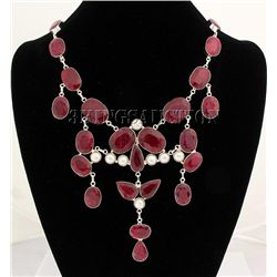 RUBY CORRUNDUM 124.50GRAMS SILVER STATEMENT NECKLACE