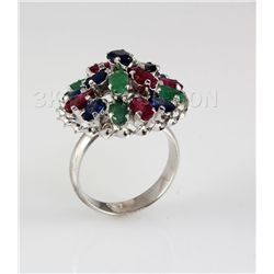 37.00CTW Multi-color Precious Stone Silver Ring