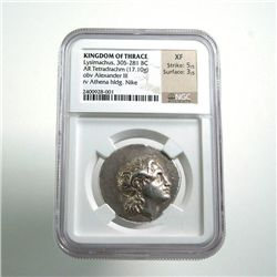 Kingdom of Thrace Lysimachus Tetradrachm XF NGC