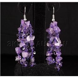 55.63CTW FOUR ROWS CHIPPED AMETHYST BEADS HOOK EARRING