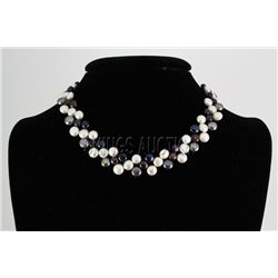 "201.3CTW 12"" WHITE-BLACK SIOPAO NECKLACE METAL LOCK PHI"
