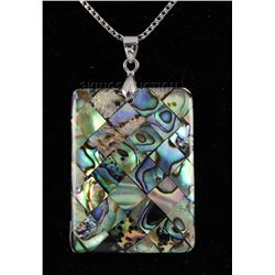 NATURAL 51.56CTW MOTHER OF PEARL SILVER PENDANT