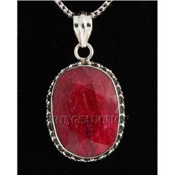 RUBY CORRUNDUM 52.45CTW STERLING SILVER PENDANT