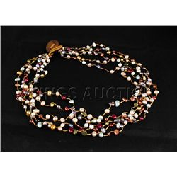 151.42CTW Multi Color Thread Freshwater Pearl Necklace