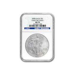 2008 Silver American Eagle (NGC MS-70) Early Release Bl