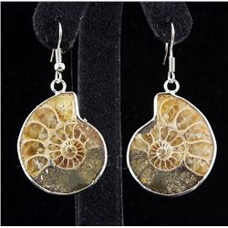 10.60GRAMS AMMONITE FOSSIL GEMSTONE SNAIL EARRING