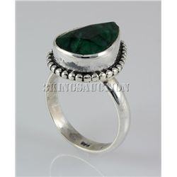 EMERALD BERYL 22.66CTW STERLING SILVER RING