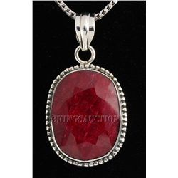 RUBY CORRUNDUM 38.36CTW STERLING SILVER PENDANT