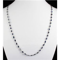 Natural Sapphire 21.70CT SwarovskiDesignSilverNecklace