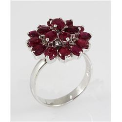 23.49CTW Ruby Flower Design Silver Ring