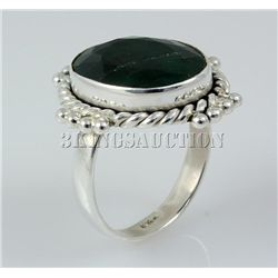 EMERALD BERYL 30.00CTW STERLING SILVER RING