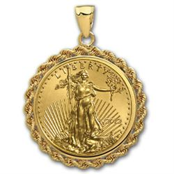 2012 1/2 oz Gold Eagle Pendant (Rope-Prong Bezel)14kt