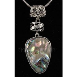 NATURAL 15.03GRAMS MOTHER OF PEARL SILVER PENDANT