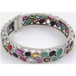 Semi-Precious Bangle Bracelet Rainbow 92.5 Sterling Sil
