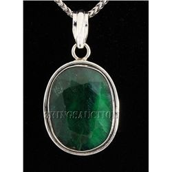 EMERALD BERYL 46.69CTW STERLING SILVER PENDANT