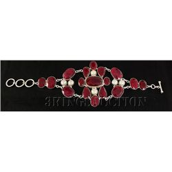 RUBY CORRUNDUM 69.94GRAMS FASHION SILVER BRACELET