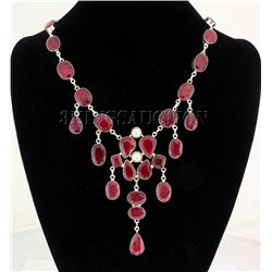RUBY CORRUNDUM 83.41GRAMS SILVER STATEMENT NECKLACE