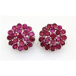 66.11CTW Flower Cluster Pink Ruby Silver Earring