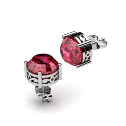 Garnet 3.20ctw Earring 14kt White Gold