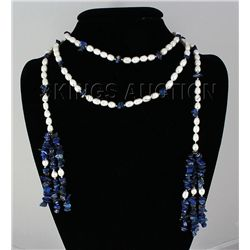 414.94CTW 55in. FASHION SCARF PEARL & TURQUOISE NECKLAC