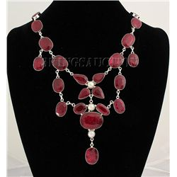 RUBY CORRUNDUM 106.46GRAMS SILVER STATEMENT NECKLACE