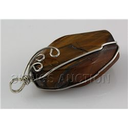 Natural 152.69ctw Uncut Tiger's Eye Stone Pendant