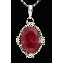 RUBY CORRUNDUM 38.02CTW STERLING SILVER PENDANT