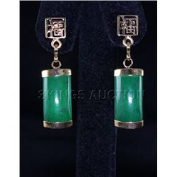 Natural 16.61ctw Green Jade Dangling Earring