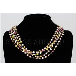 200.89CTW Multi Color Thread Freshwater Pearl Necklace