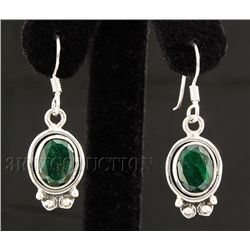 EMERALD BERYL 25.18CTW MINI SILVER HOOK EARRING
