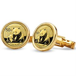 2012 1/10 oz Gold Panda Cuff Links (Polished Plain) 14K