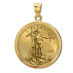 2012 1 oz Gold Eagle Pendant (Diamond-Prong Bezel) 14KT