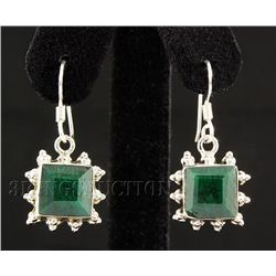 EMERALD BERYL 26.33CTW MINI SILVER HOOK EARRING