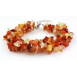 196.20CTW 7in. CARNELIAN CHIPPED STONE BRACELET METAL L
