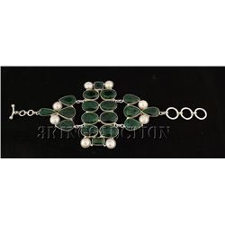 EMERALD BERYL 74.95GRAMS FASHION SILVER BRACELET