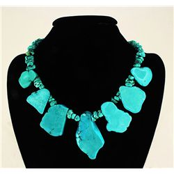 689.50CTW BOLD BIG CHUNKY TURQUOISE FASHION NECKLACE